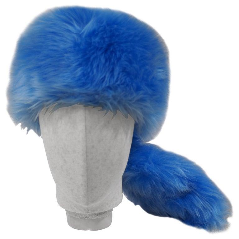 Prada light blue faux fox fur hat NWOT For Sale