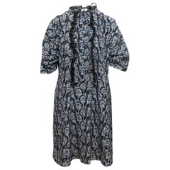 Prada Light Blue & Multicolor Silk Floral Print Dress