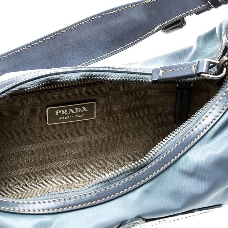 Prada Light Blue Nylon Shoulder Bag For Sale 6