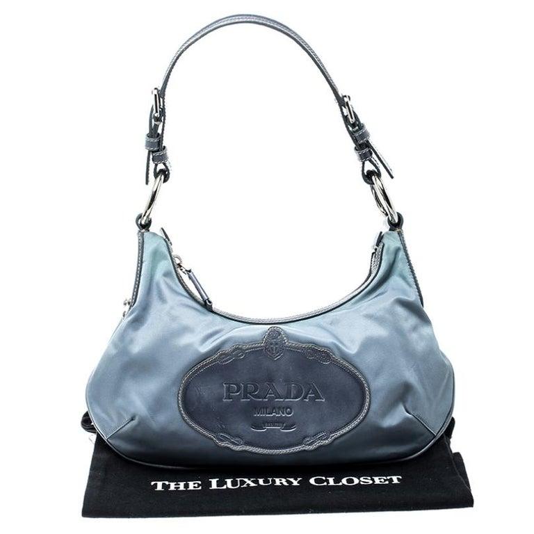 Prada Light Blue Nylon Shoulder Bag For Sale 7