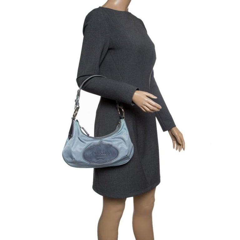 Prada Light Blue Nylon Shoulder Bag In Good Condition For Sale In Dubai, Al Qouz 2