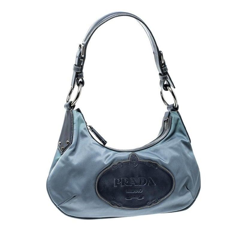Women's Prada Light Blue Nylon Shoulder Bag For Sale