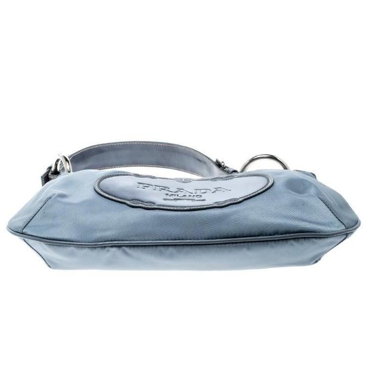 Prada Light Blue Nylon Shoulder Bag For Sale 1