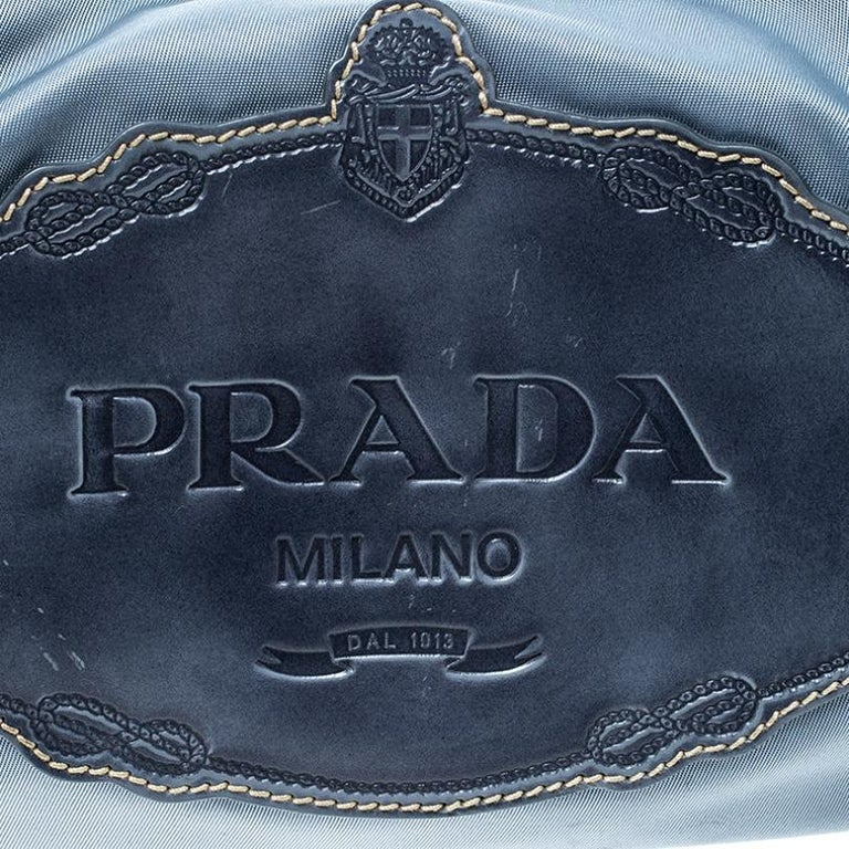 Prada Light Blue Nylon Shoulder Bag For Sale 2