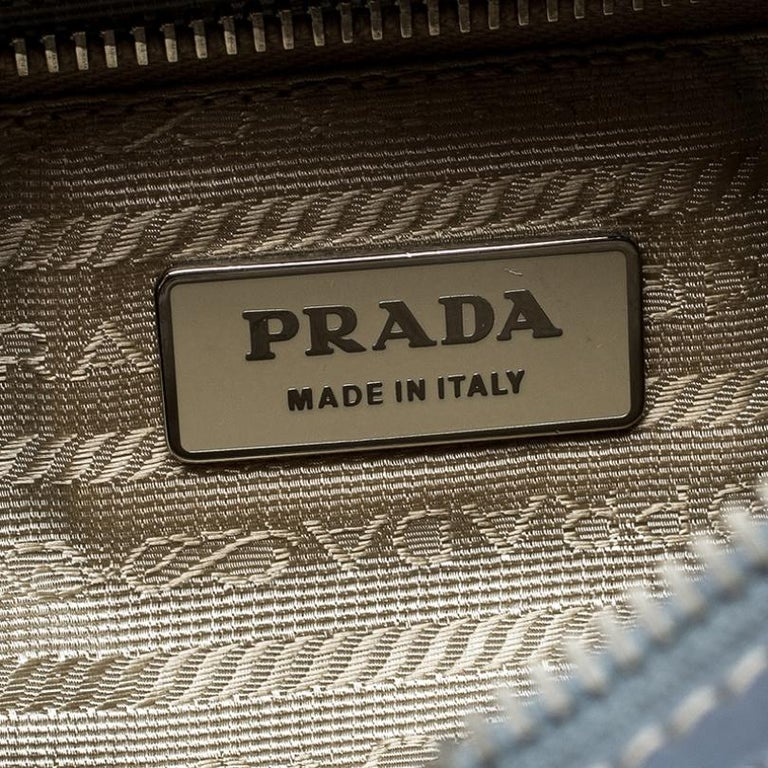 Prada Light Blue Nylon Shoulder Bag For Sale 3
