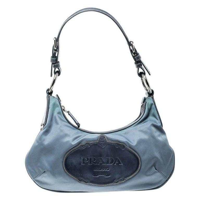 Prada Light Blue Nylon Shoulder Bag For Sale