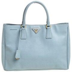 Prada Light Blue Saffiano Leather Open Galleria Tote