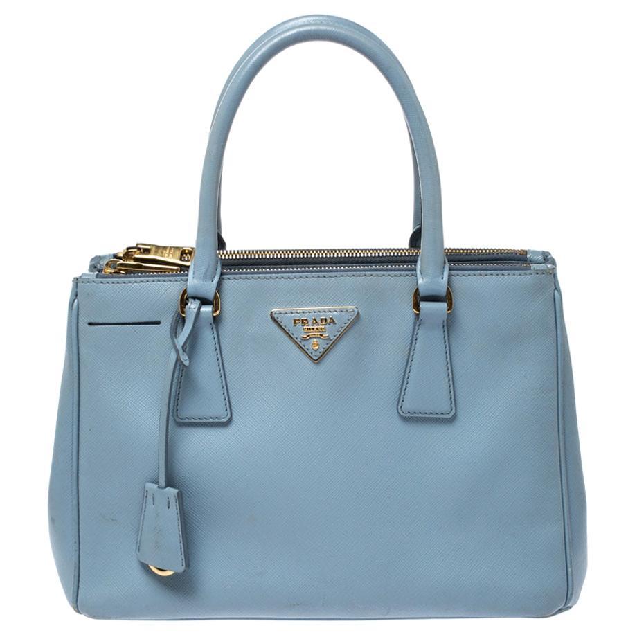 Prada Light Blue Saffiano Lux Leather Double Zip Tote
