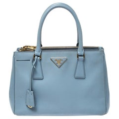 Prada Light Blue Saffiano Lux Leather Double Zip Tote