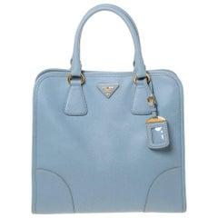 Prada Light Blue Saffiano Lux Leather Tote