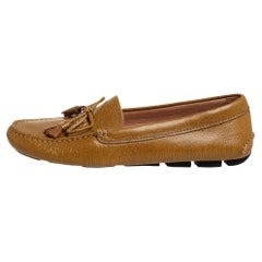 Prada Light Brown Leather Slip On Loafers Size 40