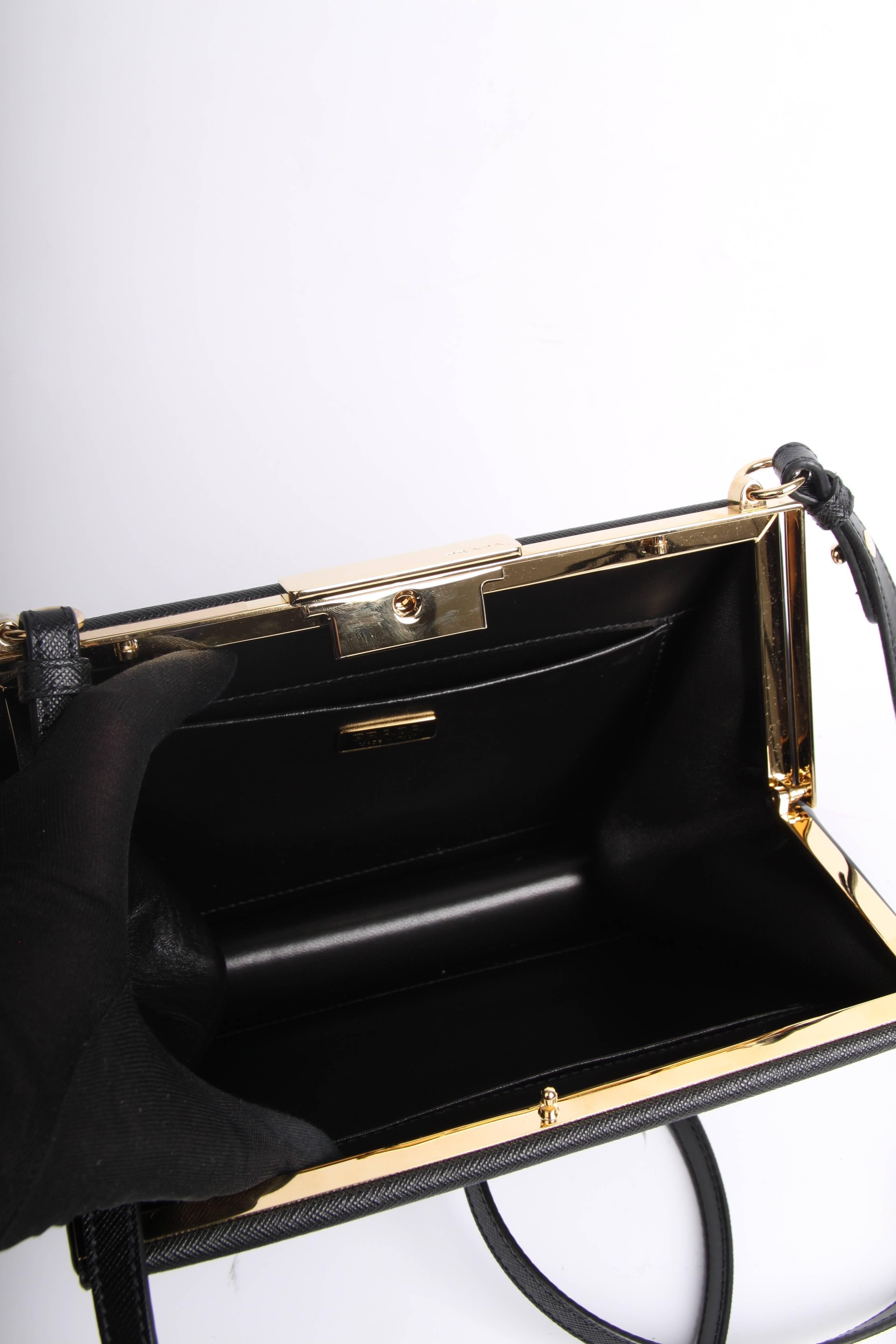5c8deb5b9b6a Prada Light Frame Saffiano Leather Shoulder Bag - black 2018 at 1stdibs