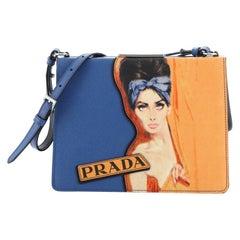 Prada Light Frame Shoulder Bag Saffiano Leather with Applique Small