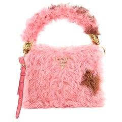Prada Light Frame Shoulder Bag Shearling with Saffiano Leather Small
