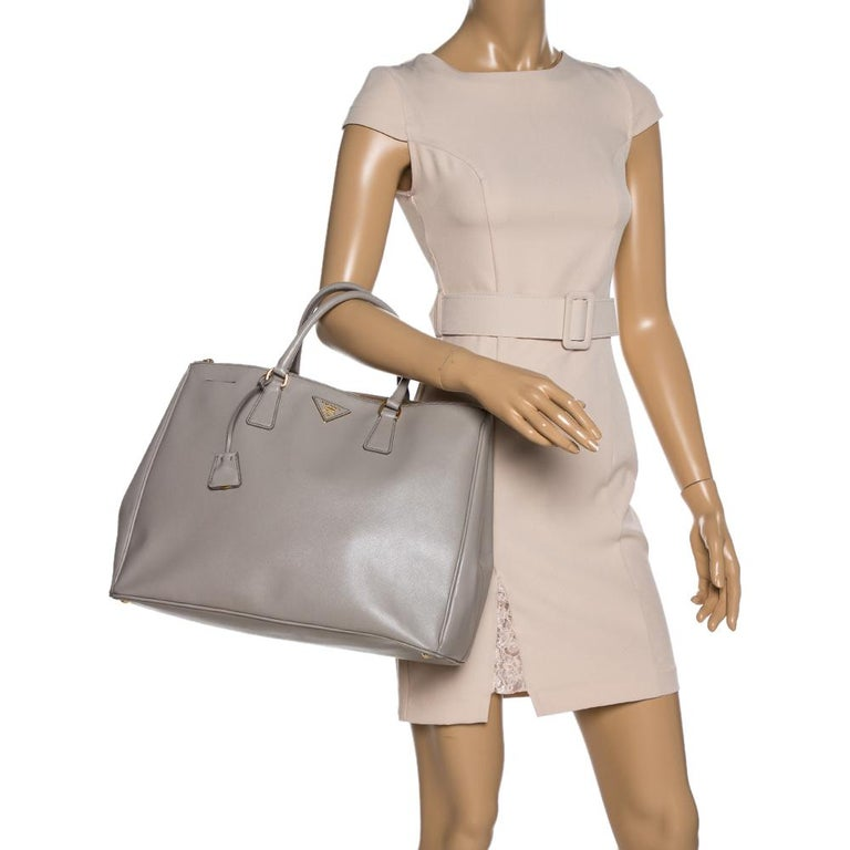 Brown Prada Light Grey Saffiano Lux Leather Executive Double Zip Tote For Sale