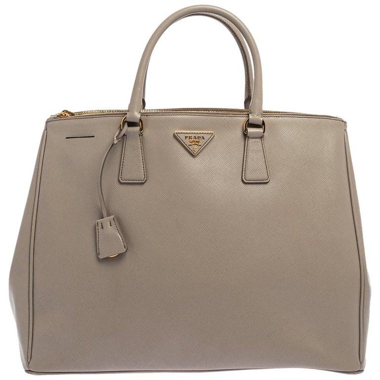 Prada Light Grey Saffiano Lux Leather Executive Double Zip Tote For Sale