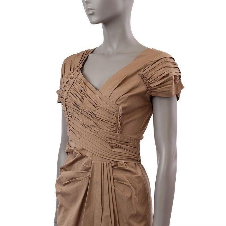 Brown PRADA light khaki brown cotton GATHERED Cocktail Dress 40 For Sale