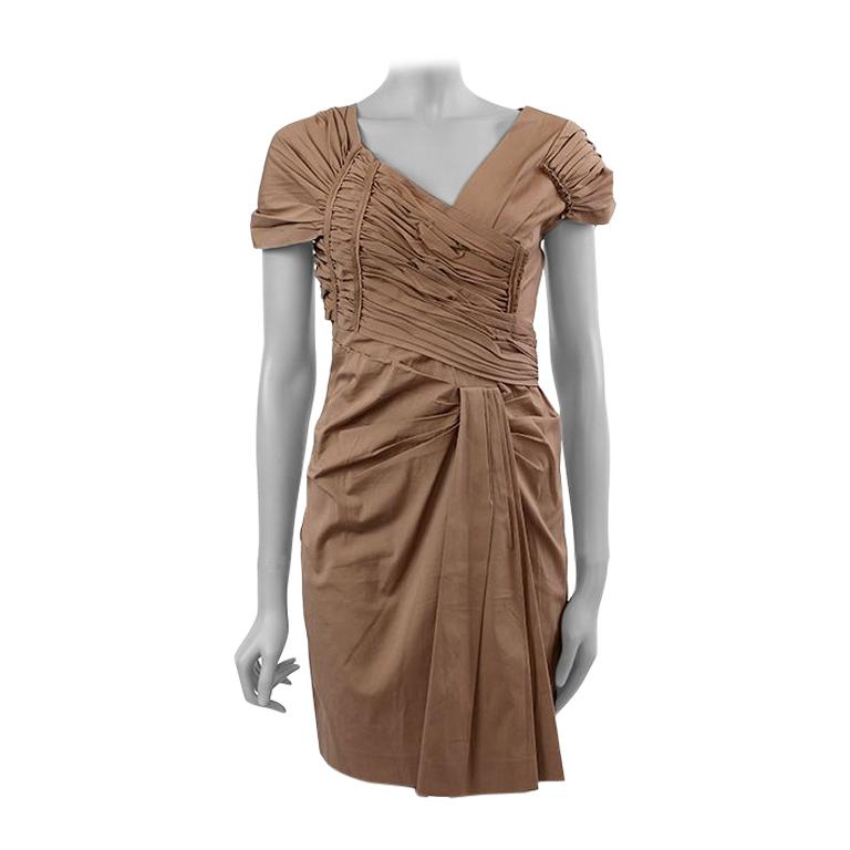 PRADA light khaki brown cotton GATHERED Cocktail Dress 40 For Sale