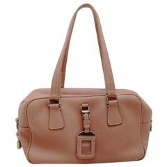Prada Light Pink Deerskin Convertible Bauletto Bag