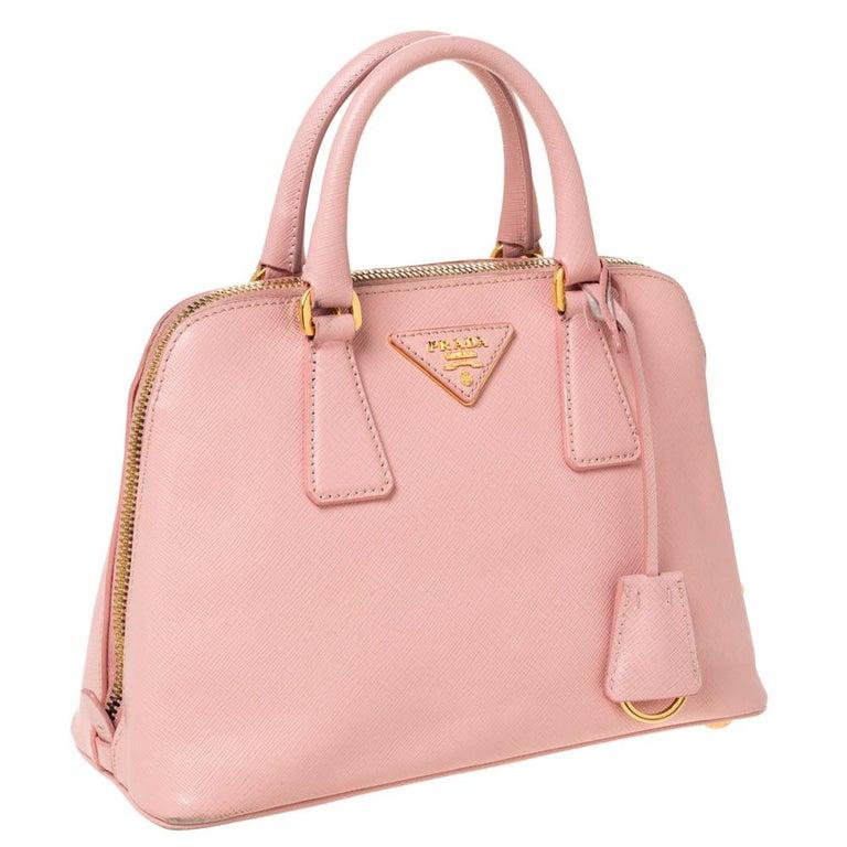 Women's Prada Light Pink Saffiano Leather Small Promenade Satchel For Sale