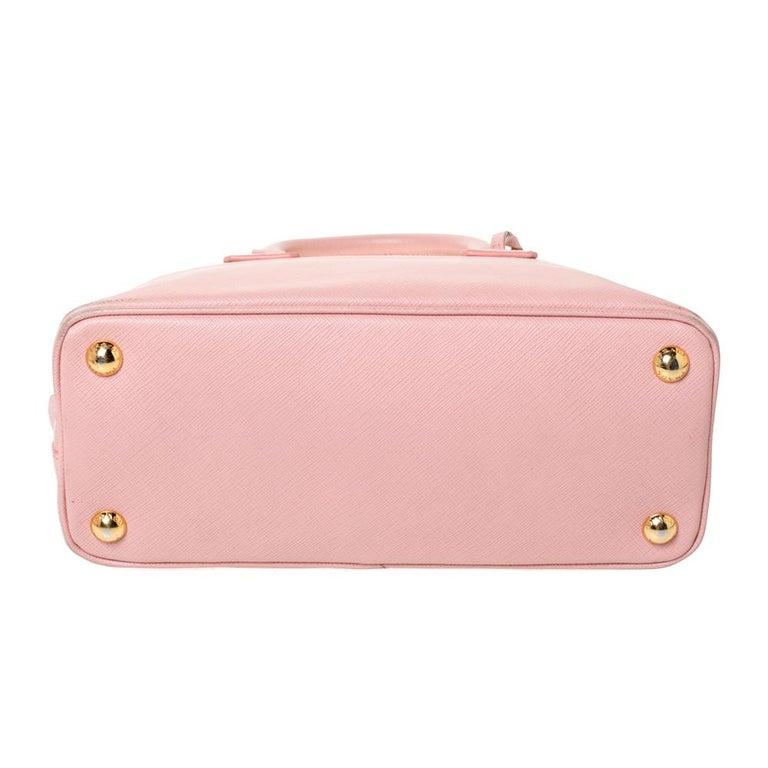 Prada Light Pink Saffiano Leather Small Promenade Satchel For Sale 1