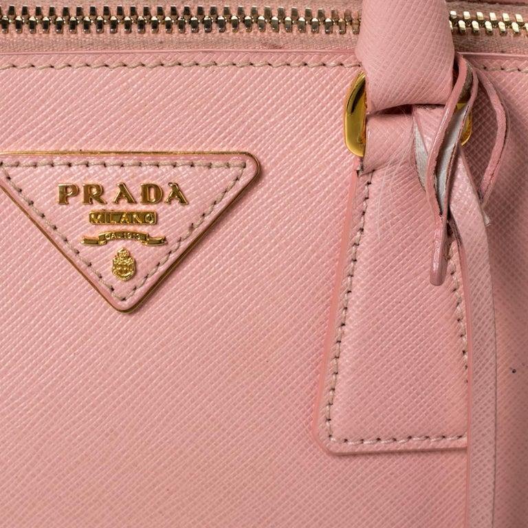 Prada Light Pink Saffiano Leather Small Promenade Satchel For Sale 4