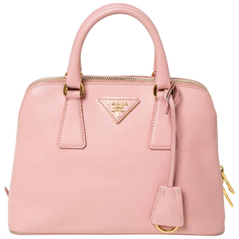 Prada Light Pink Saffiano Leather Small Promenade Satchel For Sale