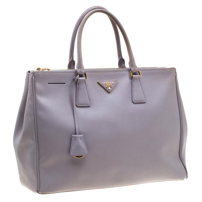 Gray Prada Lilac Saffiano Lux Leather Large Double Zip Tote