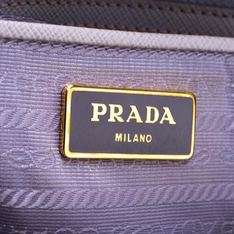 Women's Prada Lilac Saffiano Lux Leather Large Double Zip Tote