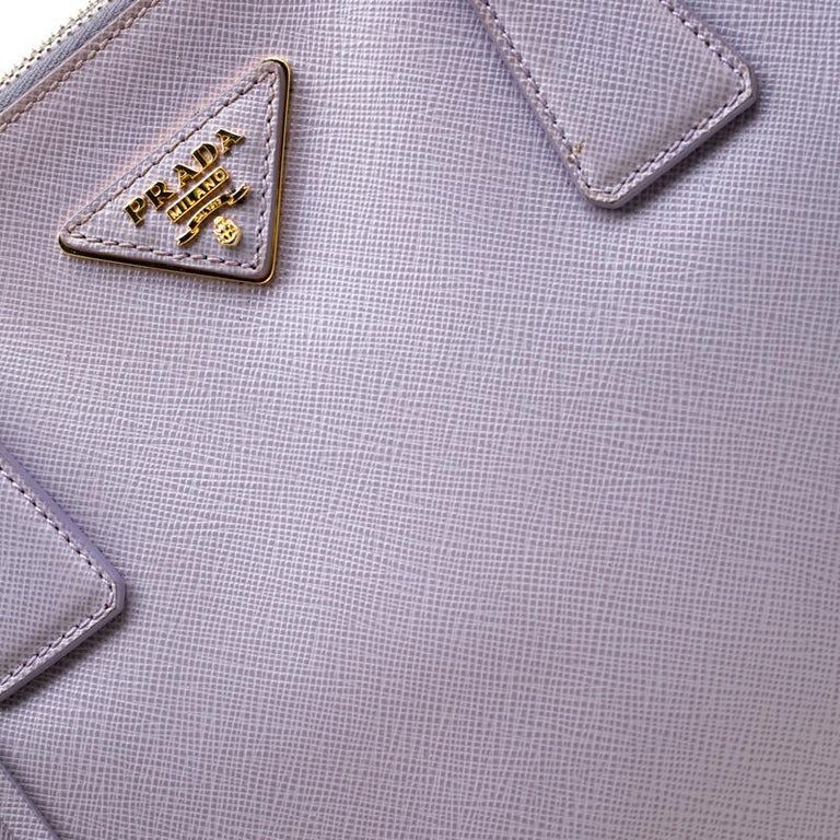 Prada Lilac Saffiano Lux Leather Large Double Zip Tote 2