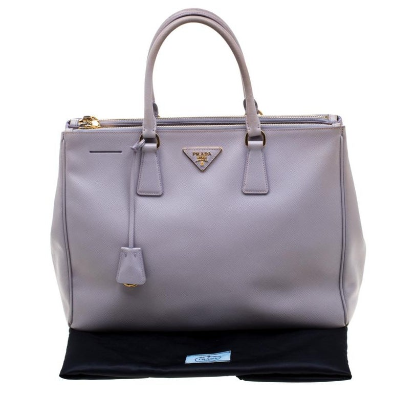 Prada Lilac Saffiano Lux Leather Large Double Zip Tote 4