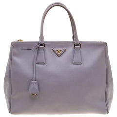Prada Lilac Saffiano Lux Leather Large Double Zip Tote