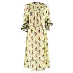 Prada Lime Green Robot Print Ruffle Trim Dress M 44