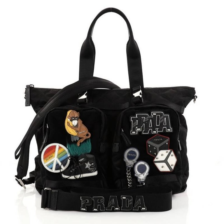 Black Prada Limited Edition Patches Tote Quilted Tessuto Large For Sale