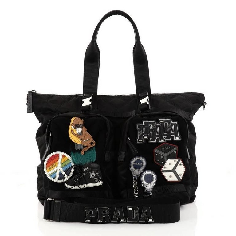 Prada Limited Edition Patches Tote Quilted Tessuto Large In Excellent Condition For Sale In New York, NY