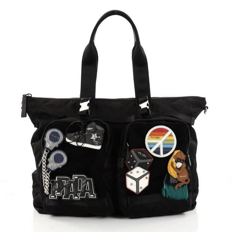 Women's Prada Limited Edition Patches Tote Quilted Tessuto Large For Sale