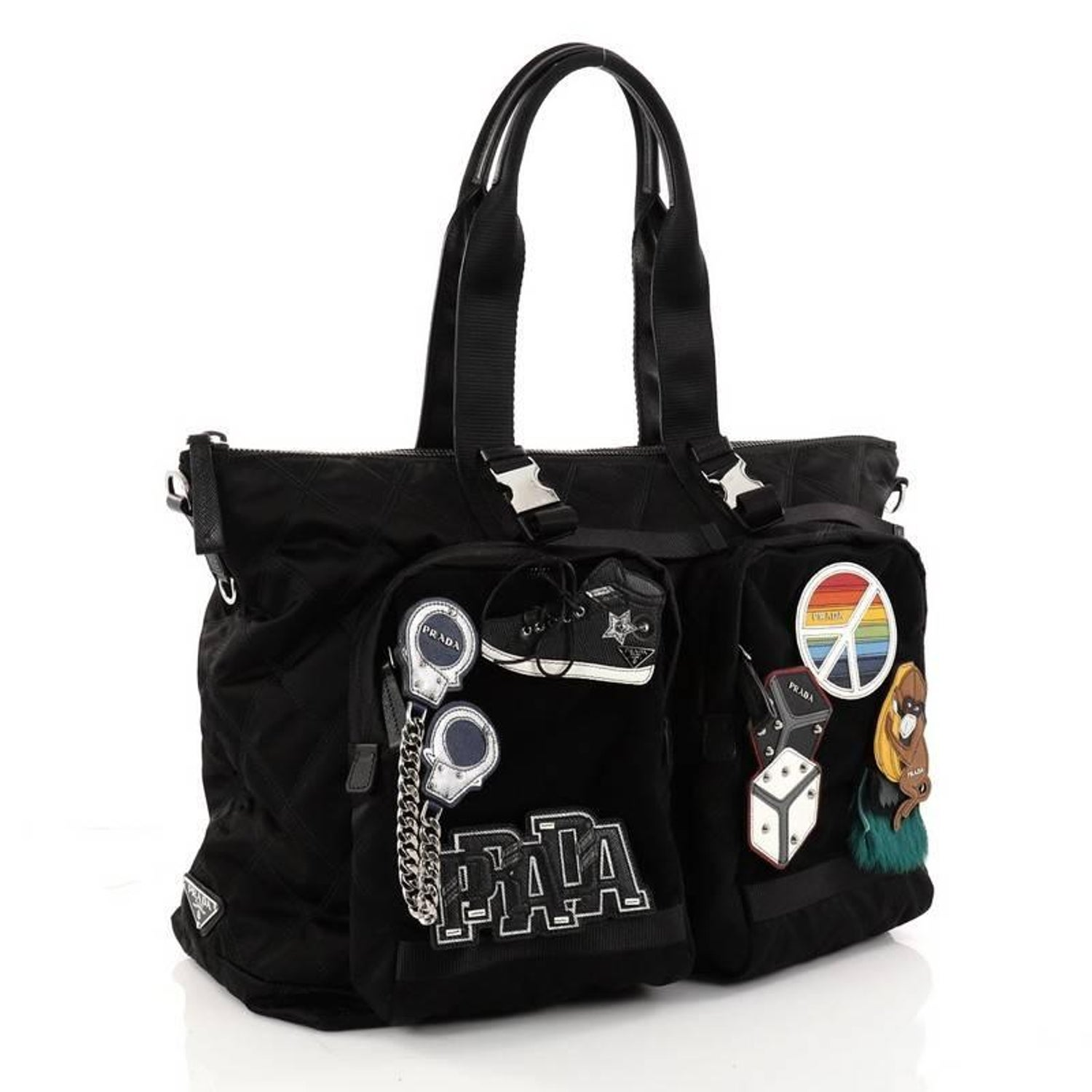 9fd79dda5c83 Prada Limited Edition Patches Tote Quilted Tessuto Large For Sale at 1stdibs