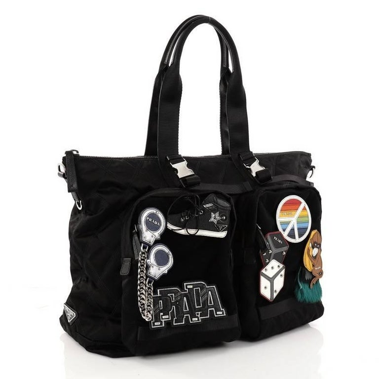 Prada Limited Edition Patches Tote Quilted Tessuto Large For Sale 1