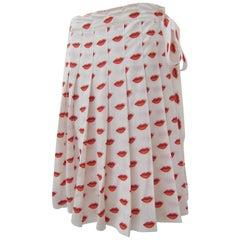 Prada Lip Print Pleated Skirt Red White