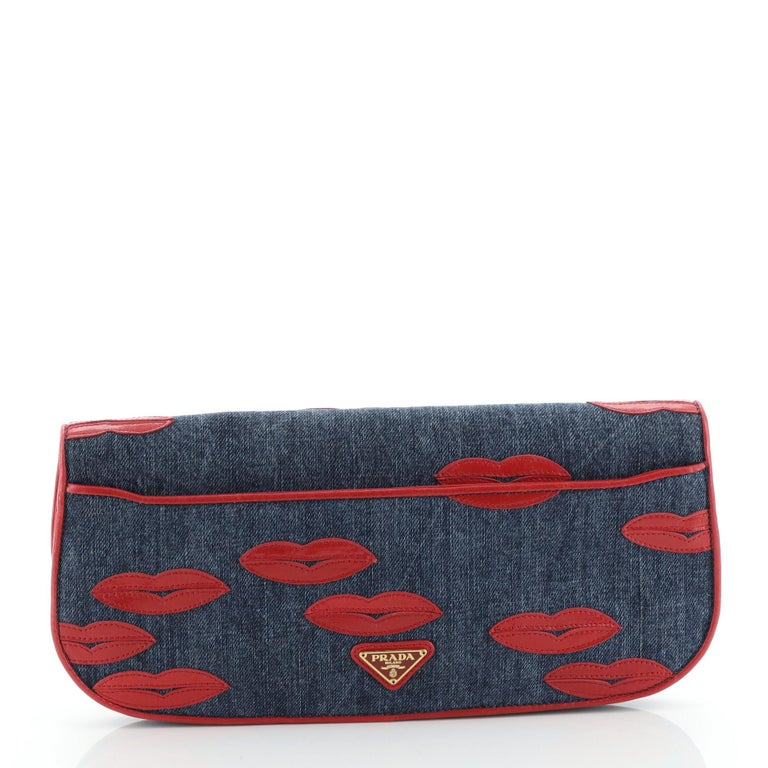 Prada Lips Flap Clutch Denim with Applique In Good Condition For Sale In New York, NY