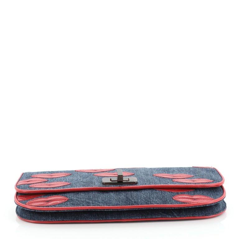 Women's or Men's Prada Lips Flap Clutch Denim with Applique For Sale