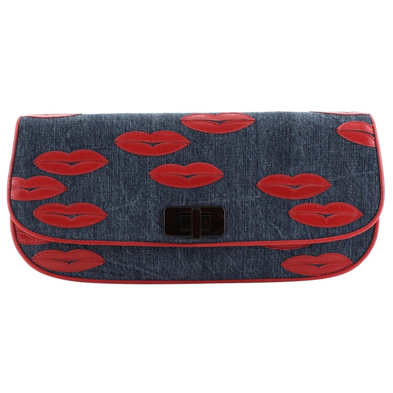 Prada Lips Flap Clutch Denim with Applique For Sale