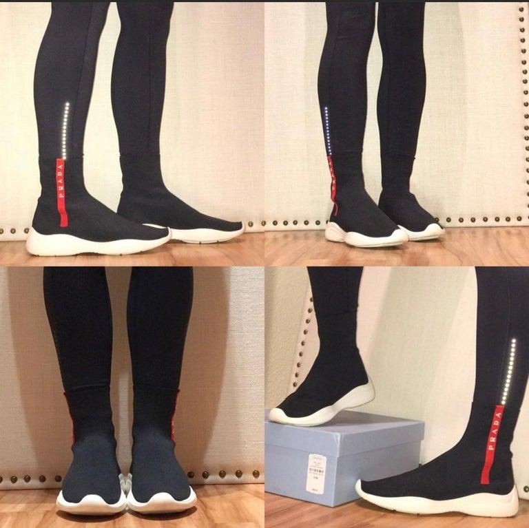 Prada  Logo Band Sock Sneaker hi-Top Sock Sneakers Size 6.5, Pre Loved For Sale 5