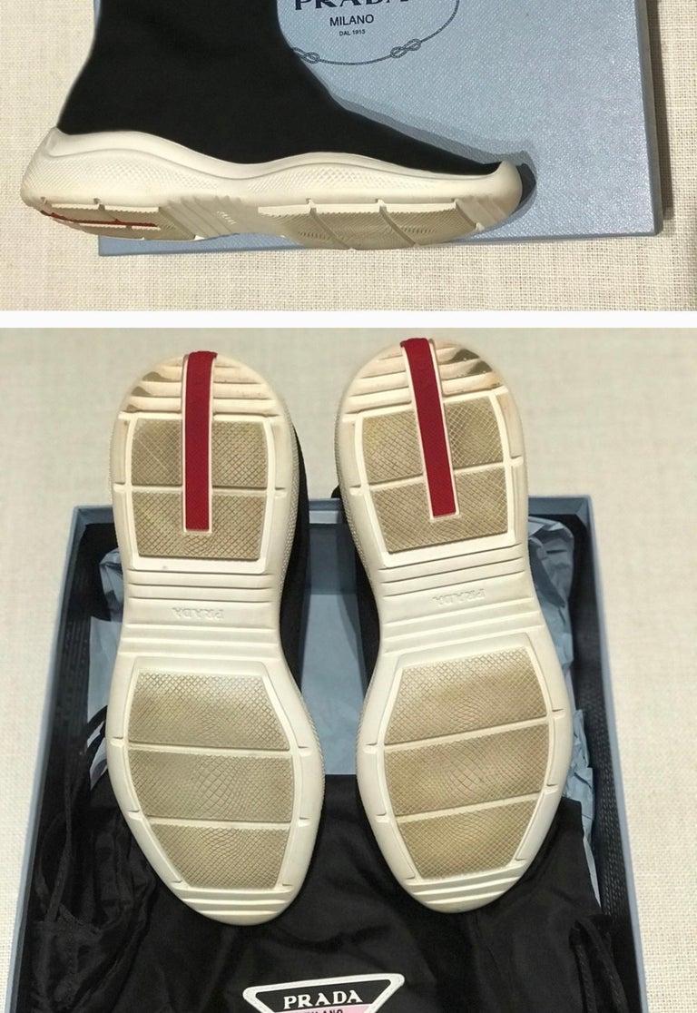Prada  Logo Band Sock Sneaker hi-Top Sock Sneakers Size 6.5, Pre Loved For Sale 6