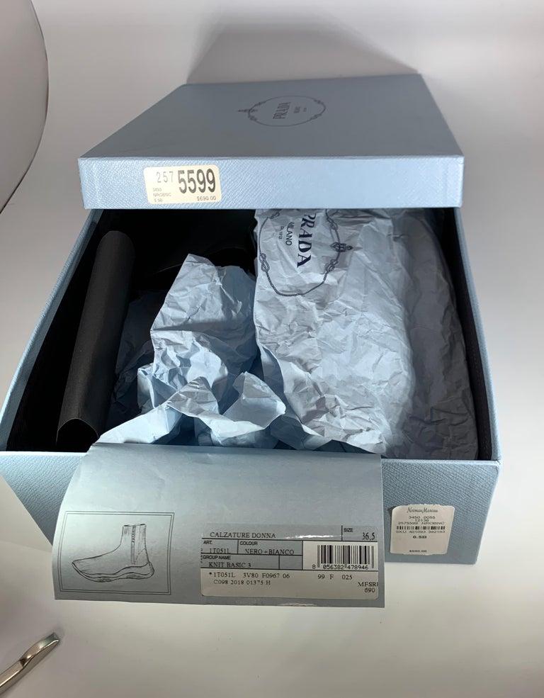Prada  Logo Band Sock Sneaker hi-Top Sock Sneakers Size 6.5, Pre Loved For Sale 7