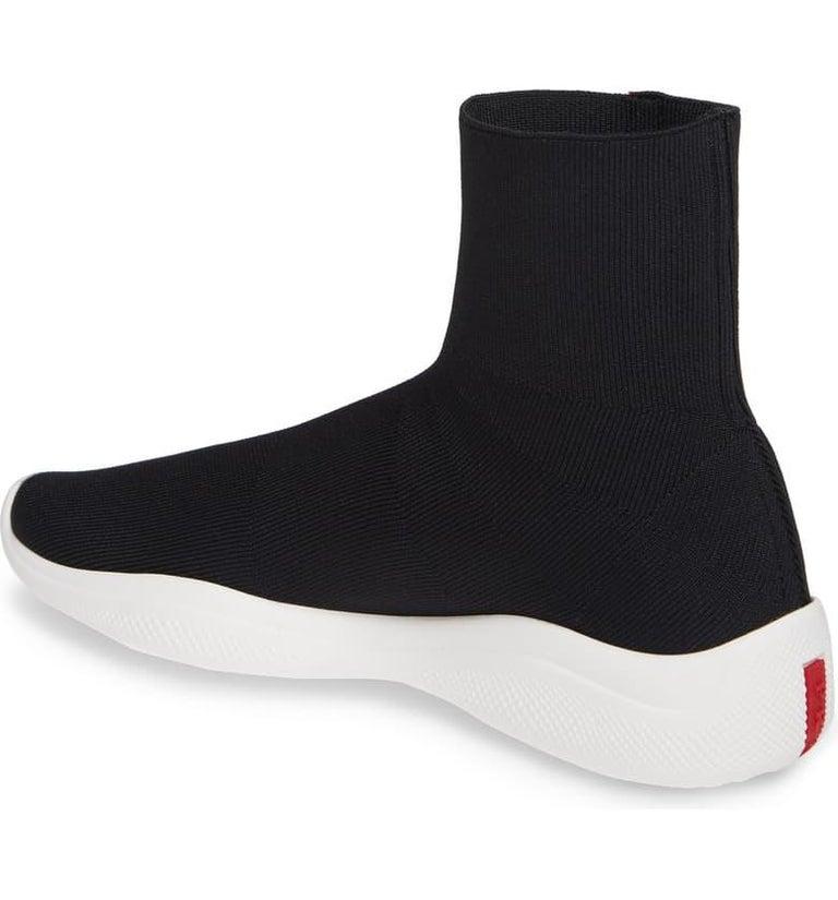 Women's Prada  Logo Band Sock Sneaker hi-Top Sock Sneakers Size 6.5, Pre Loved For Sale