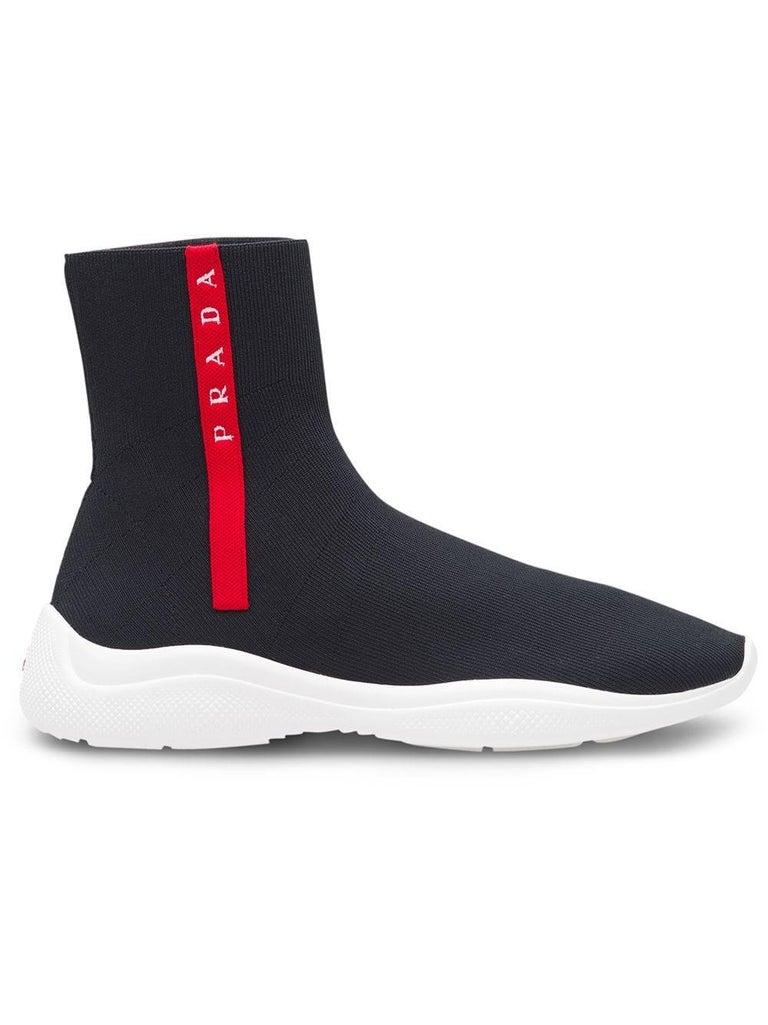 Prada  Logo Band Sock Sneaker hi-Top Sock Sneakers Size 6.5, Pre Loved For Sale 1