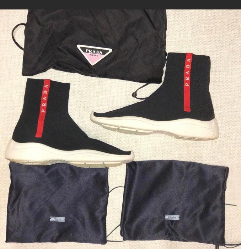 Prada  Logo Band Sock Sneaker hi-Top Sock Sneakers Size 6.5, Pre Loved For Sale 4