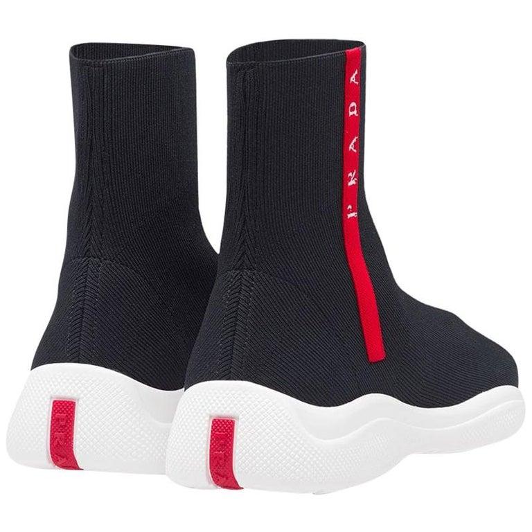 Prada  Logo Band Sock Sneaker hi-Top Sock Sneakers Size 6.5, Pre Loved For Sale