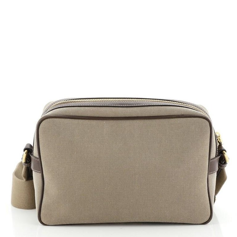Prada Logo Camera Bag Canvas Small  In Good Condition For Sale In New York, NY